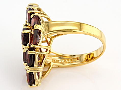 Pre-Owned Red Garnet 18k Yellow Gold Over Sterling Silver Ring 9.55ctw