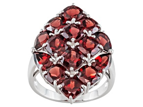 Pre-Owned Red Garnet Sterling Silver Ring 9.55ctw.