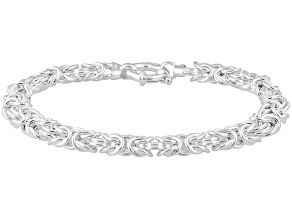 Pre-Owned Sterling Silver Hollow Flat Byzantine Link Bracelet