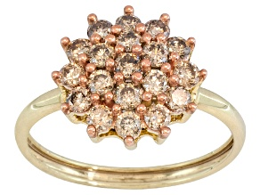 Pre-Owned Champagne Diamond 1.00ctw Round 10k Yellow Gold Ring