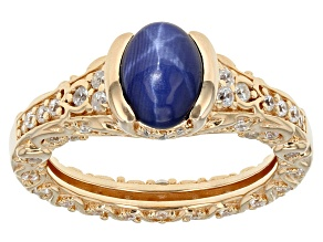 Pre-Owned Lab Created Star Sapphire And White Cubic Zirconia 18k Yellow Gold Over Silver Ring 2.77ct