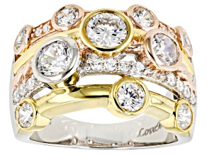 Pre-Owned white cubic zirconia 18k yellow gold, rose gold, & rhodium over silver ring