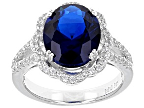 Pre-Owned Blue lab created spinel sterling silver ring 5.50ctw