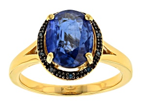 Pre-Owned Blue Kyanite 18k Yellow Gold Over Sterling Silver ring 2.74ctw