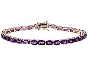 Pre-Owned Purple amethyst 18k rose gold over silver tennis bracelet 11.18ctw
