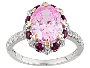 Pre-Owned Synthetic Red Corundum And Pink And White Diamond Simulants Ring 5.92ctw