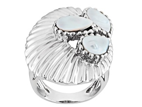 Pre-Owned White Cultured Freshwater Pearl Rhodium Over Silver Ring