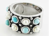 Pre-Owned White Cultured Freshwater Pearl, Larimar Rhodium Over Silver Band Ring