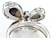 Pre-Owned Multicolor Abalone Shell Sterling Silver Butterfly Ring .29ctw