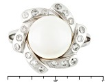 Pre-Owned White Cultured Freshwater Pearl, Diamond Simulant Rhodium Over Silver Ring