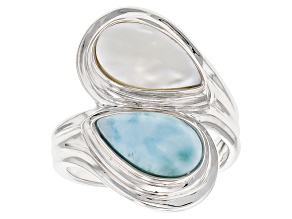 Pre-Owned Cultured Freshwater Pearl With Larimar Rhodium Over Sterling Silver Ring