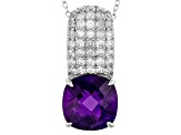 Pre-Owned African Amethyst Sterling Silver Pendant With Chain 7.10ctw