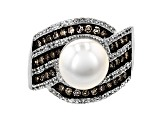Pre-Owned Cultured Freshwater Pearl, Diamond and Zircon Rhodium Over Silver Ring