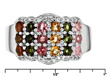 Pre-Owned Multi-Tourmaline Sterling Silver Ring 1.35ctw