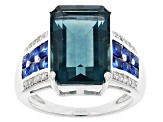 Pre-Owned Blue Fluorite Sterling Silver Ring 9.40ctw