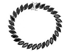 Pre-Owned Black Spinel Sterling Silver Bracelet 32.78ctw