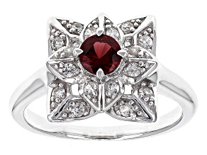 Pre-Owned Red Garnet Sterling Silver Ring .59ctw