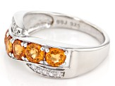 Pre-Owned Orange Spessartite Sterling Silver Crossover Ring 1.42ctw