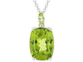 Pre-Owned Green Peridot Sterling Silver Pendant With Chain 5.90ctw