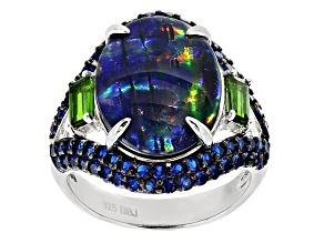Pre-Owned Australian Opal Triplet Sterling Silver Ring 1.09ctw
