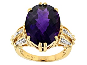 Pre-Owned Purple amethyst 18k yellow gold over sterling silver ring 10.26ctw