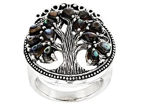 Pre-Owned Multicolor Abalone Shell Tree Of Life Sterling Silver Ring
