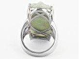 Pre-Owned Green Jadeite Sterling Silver Butterfly Ring