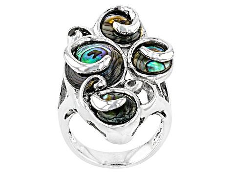 Pre-Owned Multi Color Abalone Shell Sterling Silver Ring