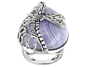 Pre-Owned Blue Lace Agate Sterling Silver Ring