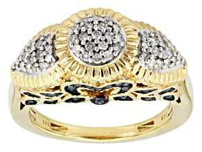 Pre-Owned Blue And White Diamond 18k Yellow Gold Over Silver Ring .68ctw