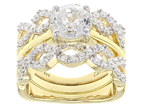 Pre-Owned white cubic zirconia 18k yellow gold over silver rings