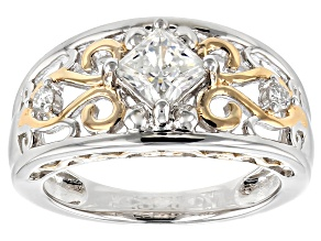 Pre-Owned Moissanite Fire® .86ctw DEW Platineve™ And 14k Yellow Gold Over Platineve Two Tone Ring