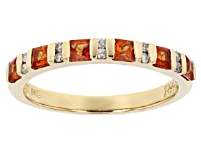 Pre-Owned White Diamond And Orange Sapphire 14k Yellow Gold Ring .76ctw
