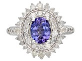 Pre-Owned Blue tanzanite rhodium over sterling silver ring 2.25ctw