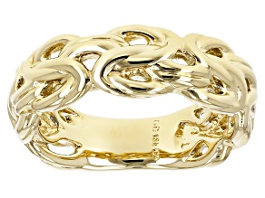 Pre-Owned 18k Yellow Gold Over Bronze Byzantine Ring