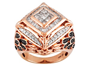 Pre-Owned Black And White Diamond 18k Rose Gold Over Silver Ring 1.45ctw