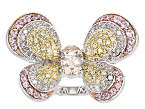 Pre-Owned Yellow And White Diamond, Pink Sapphire And Morganite 10k White Gold Ring 1.97ctw
