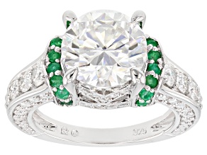 Pre-Owned Moissanite and Emerald Platineve Ring 4.76ctw DEW