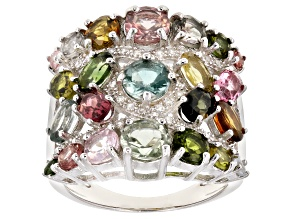 Pre-Owned Multi-color tourmaline rhodium over silver ring 4.41ctw