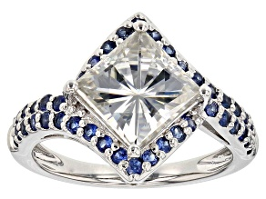 Pre-Owned Moissanite And Blue Sapphire Platineve Ring