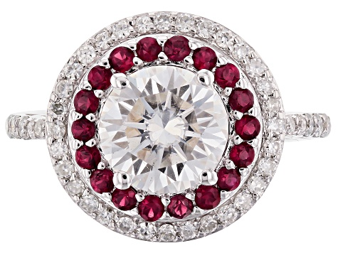 Pre-Owned Moissanite And Ruby Platineve Ring 2.38ctw DEW.