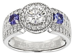 Pre-Owned Moissanite Fire® 1.28ctw DEW And .36ctw Tanzanite Platineve™ Ring