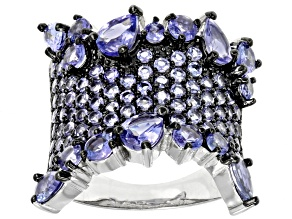 Pre-Owned Blue tanzanite sterling silver ring 3.41ctw