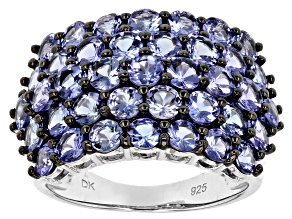 Pre-Owned Blue tanzanite sterling silver ring 4.23ctw