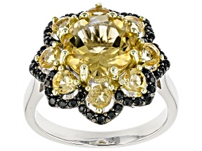 Pre-Owned Yellow citrine rhodium over sterling silver ring 3.23ctw