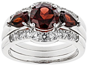 Pre-Owned Red garnet rhodium over sterling silver 3-ring set 2.85ctw