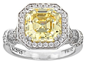 Pre-Owned yellow and white cubic zirconia rhodium over sterling silver ring 3.52ctw