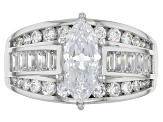Pre-Owned white cubic zirconia rhodium over sterling silver ring 3.46ctw