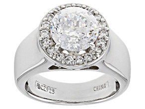 Pre-Owned white cubic zirconia platinum over sterling silver ring 2.47ctw
