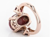Pre-Owned Red thulite 18k rose gold over sterling silver ring